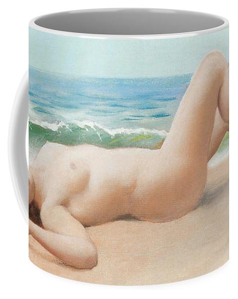 Nu Sur La Plage Coffee Mug featuring the digital art Nu Sur La Plage by John William Godward