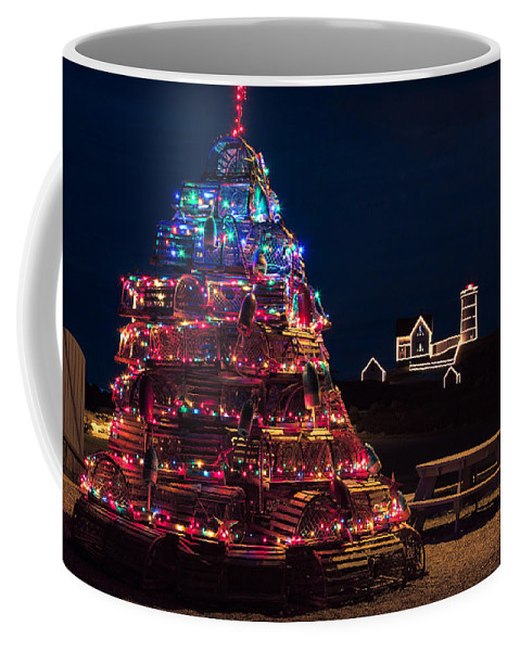 Christmas Decor Coffee Mug featuring the photograph Nubble Lighthouse And Lobster Pot Tree by Jeff Folger