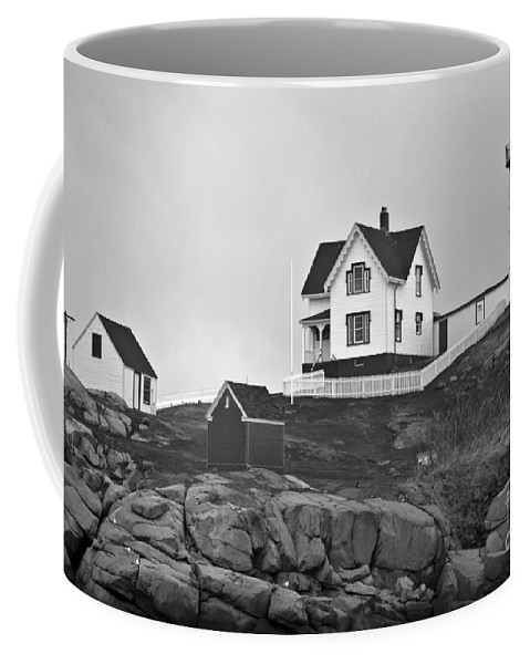Nubble Lighthouse Coffee Mug featuring the photograph Nubble Lighthouse Cape Neddick Maine Black And White by Glenn Gordon