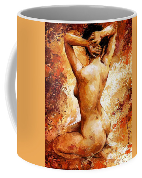 Nude Coffee Mug featuring the painting Nude 06 by Emerico Imre Toth
