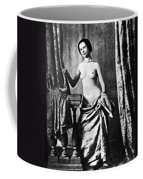 1850 Coffee Mug featuring the photograph Nude And Curtains, C1850 by Granger