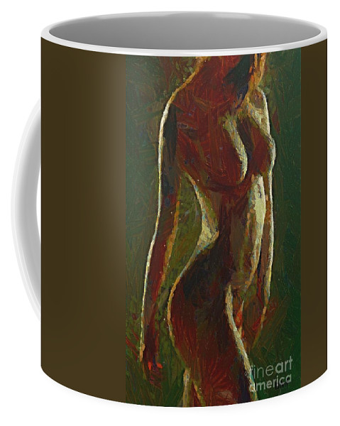 Figuratively Coffee Mug featuring the painting Nude In The Green by Dragica Micki Fortuna
