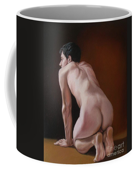 Male Coffee Mug featuring the painting Nude Male Kneeling by Christopher Shellhammer