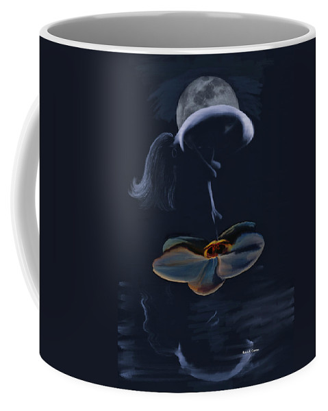 Nude Coffee Mug featuring the painting Nude On A Lilly Pad In Moonlight by Angela Stanton