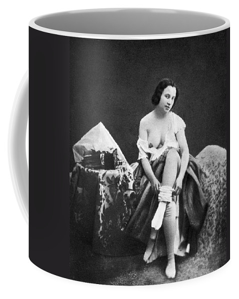 1850 Coffee Mug featuring the photograph Nude Undressing, C1850 by Granger