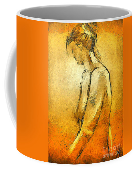 Nude Coffee Mug featuring the painting Nude Viii by Dragica Micki Fortuna