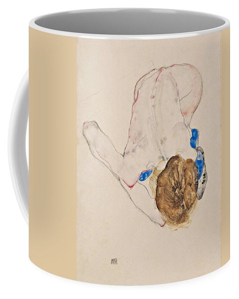 Egon Schiele Coffee Mug featuring the drawing Nude With Blue Stockings Bending Forward by Egon Schiele