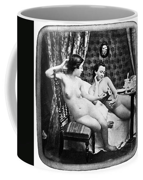 1850 Coffee Mug featuring the photograph Nudes Having Tea, C1850 by Granger