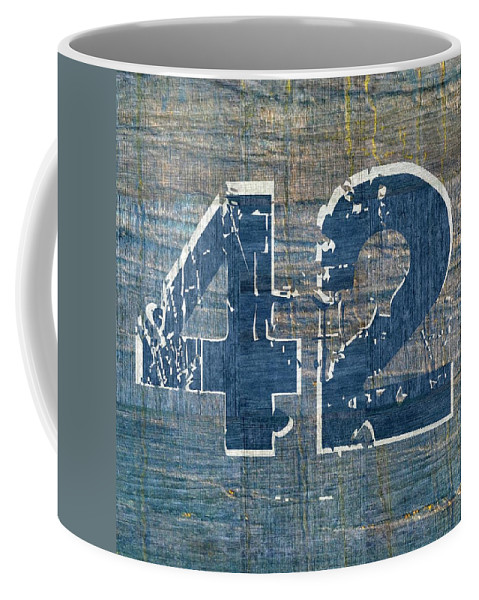 Jackie Robinson Coffee Mug featuring the digital art Number 42 by Michelle Calkins