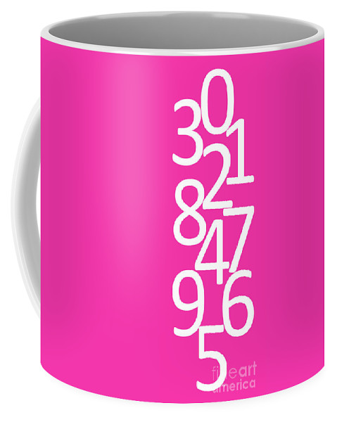 Numbers Coffee Mug featuring the digital art Numbers In Pink And White by Jackie Farnsworth