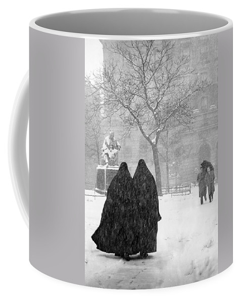 Christmas Coffee Mug featuring the photograph Nuns in Snow New York City 1946 by Melissa A Benson