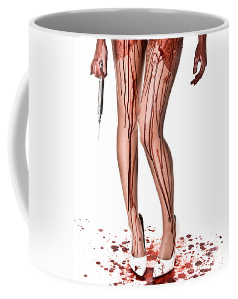 Red Coffee Mug featuring the photograph Nurse Help by Jt PhotoDesign