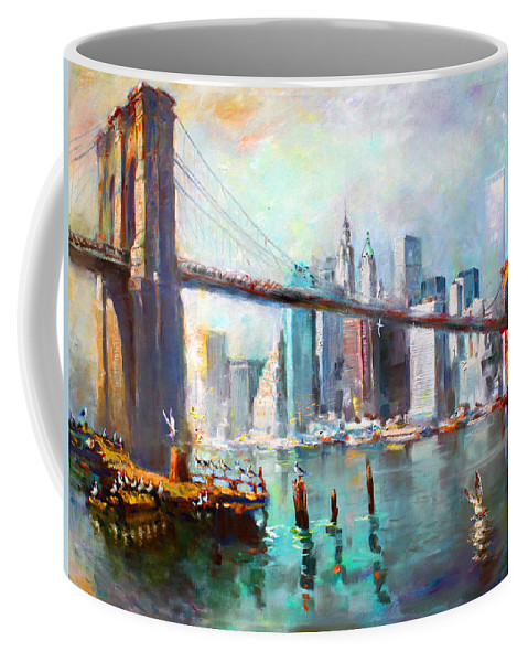 Nyc Coffee Mug featuring the painting NY City Brooklyn Bridge II by Ylli Haruni