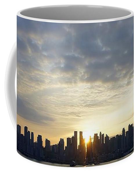 New York City Coffee Mug featuring the photograph Nyc Sunrise Panorama by Lilliana Mendez