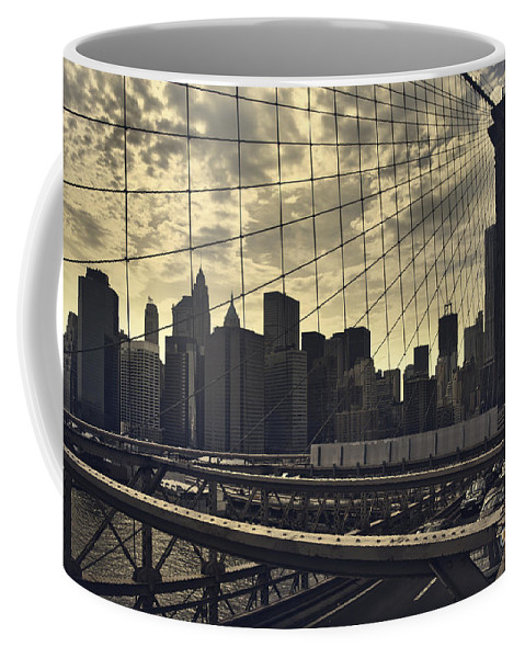 Brooklyn Bridge Coffee Mug featuring the photograph Nyc Through The Web by Istvan Kadar