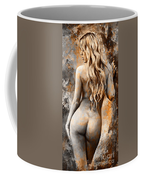 Nude Coffee Mug featuring the painting Nymph 02 - Digital Colored Rust by Emerico Imre Toth