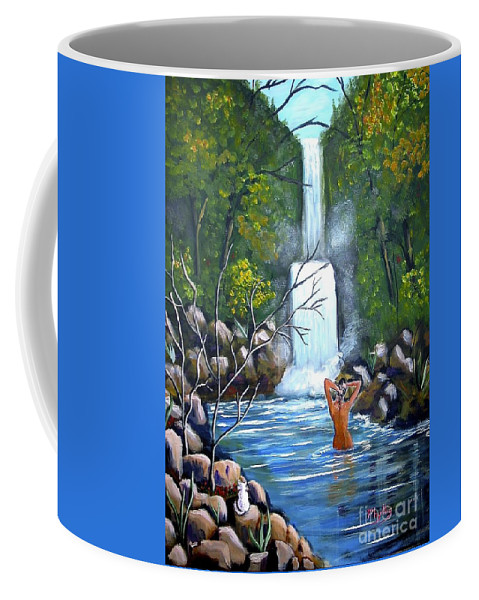 Waterfall Coffee Mug featuring the painting Nymph In Pool by Phyllis Kaltenbach