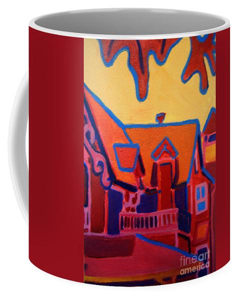 Martha\'s Vineyard Coffee Mug featuring the painting Oak Bluffs In Red by Debra Bretton Robinson