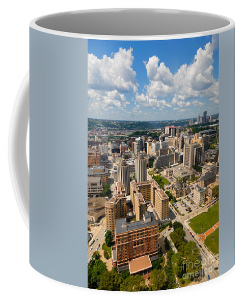 Aerial View Coffee Mug featuring the photograph Oakland Pitt Campus With City Of Pittsburgh In The Distance by Amy Cicconi