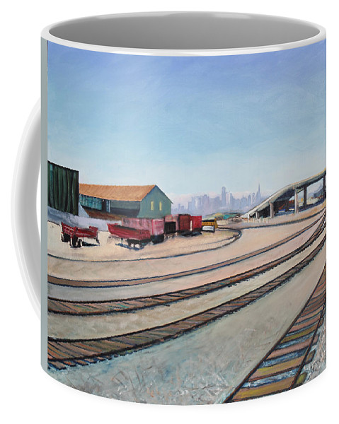 Urban Painting Coffee Mug featuring the painting Oakland Train Tracks And San Francisco Skyline by Asha Carolyn Young
