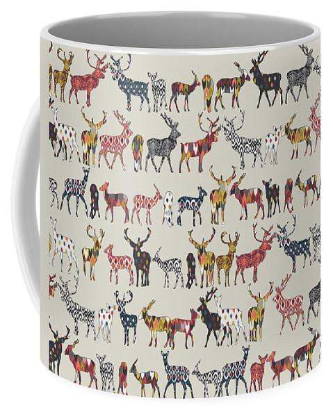 Deer Coffee Mug featuring the drawing Oatmeal Spice Deer by MGL Meiklejohn Graphics Licensing