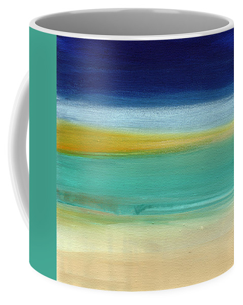 Abstract Coffee Mug featuring the painting Ocean Blue 3- Art By Linda Woods by Linda Woods