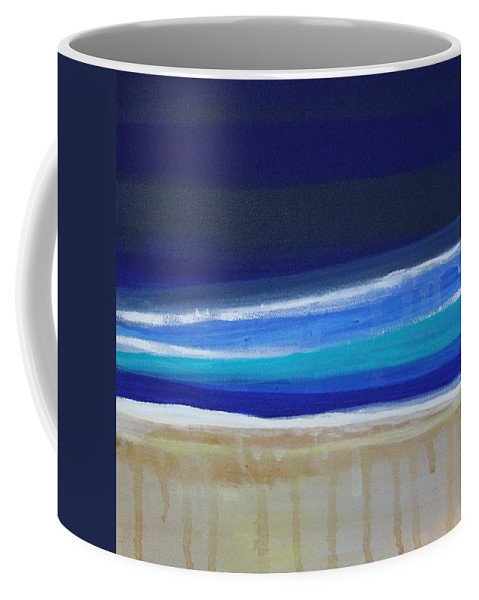 Abstract Painting Coffee Mug featuring the painting Ocean Blue by Linda Woods
