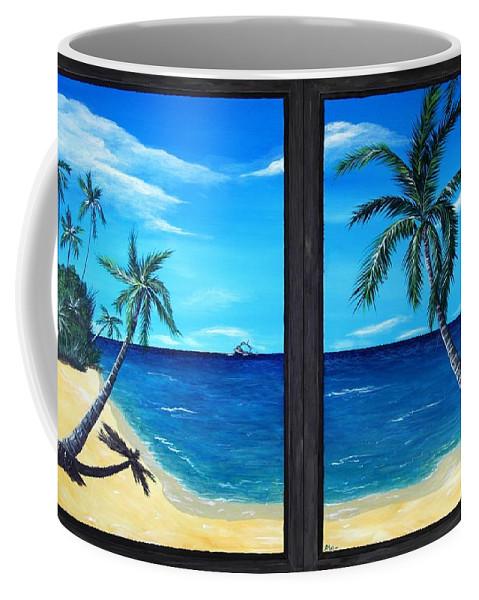 Palm Coffee Mug featuring the painting Ocean View by Anastasiya Malakhova