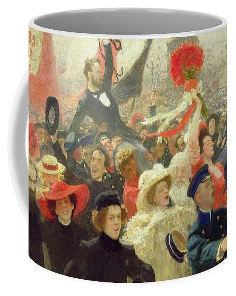 Russian; Revolution; Political Unrest; Crowd; Crowds; Demonstration; Banner; Red; Banners; Flag; Flags; Mutiny; Strike; Strikes; Anti-capitalist; Peredvizhniki; Peredvizhniki Group Coffee Mug featuring the painting October 17th 1905 by Ilya Efimovich Repin