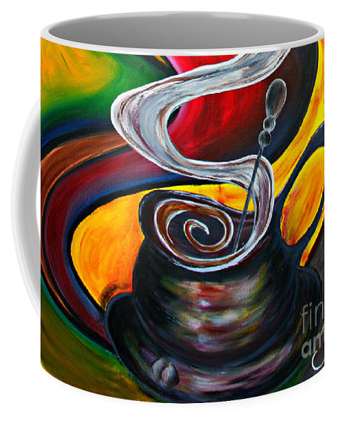 Coffee Coffee Mug featuring the painting Ode To Coffee... by Jolanta Anna Karolska