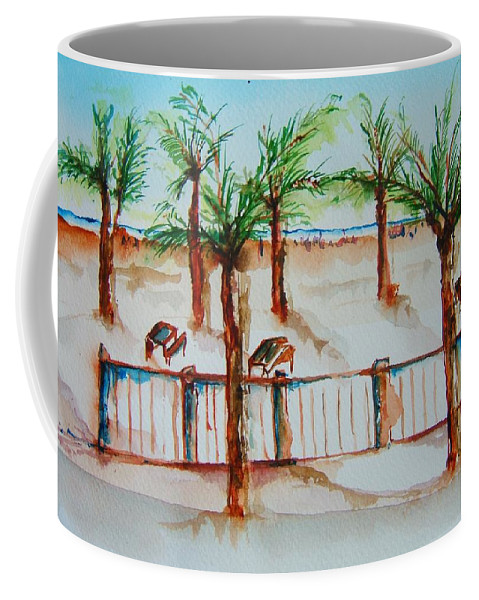 Palms. Palm Tree Coffee Mug featuring the painting Off Boardwalk by Elaine Duras