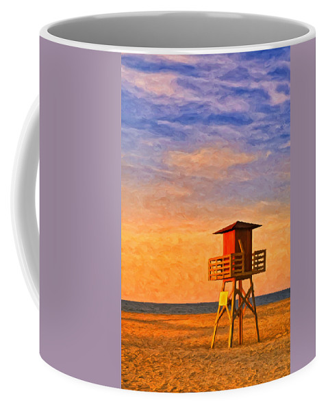 Lifeguard Coffee Mug featuring the painting Off Duty 3 by Dominic Piperata