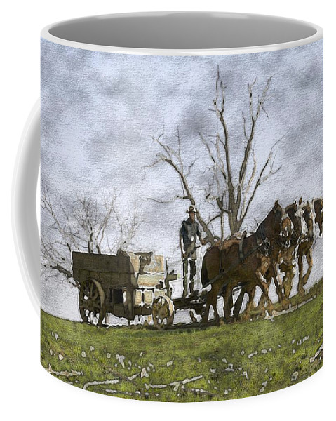 Horses Coffee Mug featuring the photograph Off To The Field by Alice Gipson
