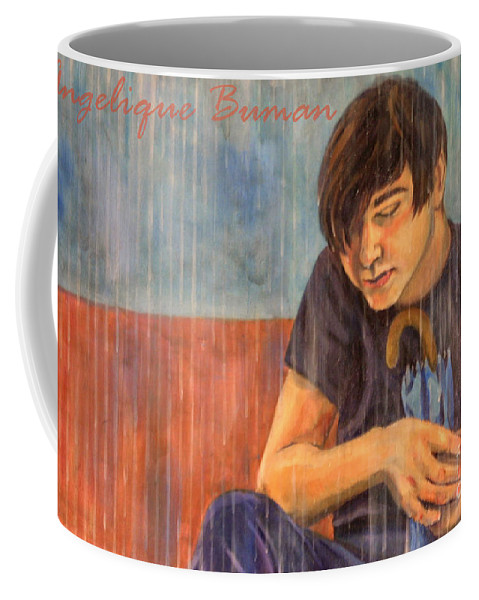 Boy Coffee Mug featuring the painting Oh Brother by Angelique Bowman