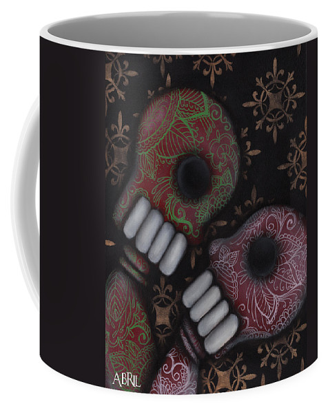 Day Of The Dead Coffee Mug featuring the painting Oh El Amor by Abril Andrade Griffith