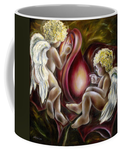 Angel Coffee Mug featuring the painting Oh I Thought This Was A Cabbage. by Hiroko Sakai