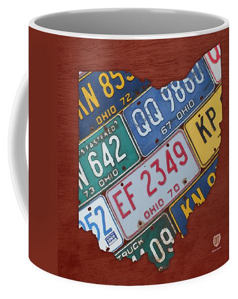 Ohio State Map Made Using Vintage License Plates Coffee Mug For Sale By Design Turnpike
