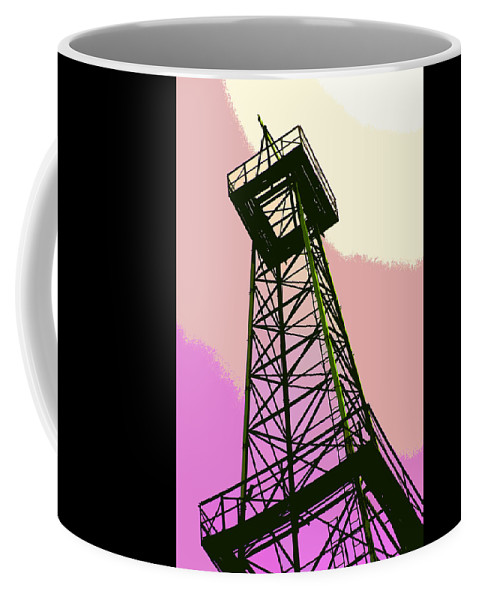 Derrick Coffee Mug featuring the photograph Oil Derrick In Pink by Art Block Collections