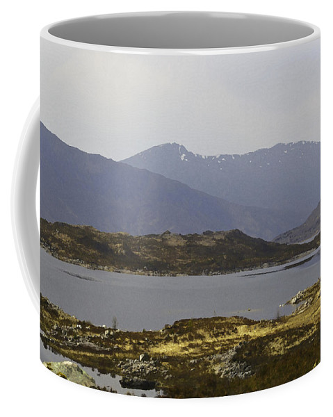Canon Coffee Mug featuring the digital art Oil Painting - Rugged Shoreline And Waters Of A Loch In The Scottish Highlands by Ashish Agarwal