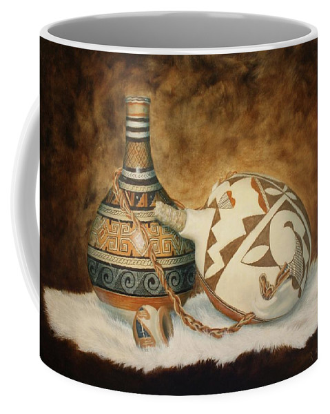 Roena King Coffee Mug featuring the painting Oil Painting - Indian Pots by Roena King