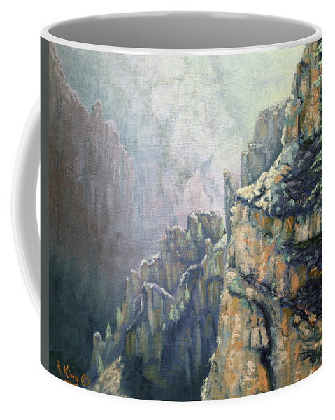 Roena King Coffee Mug featuring the painting Oil Painting - Majestic Canyon by Roena King
