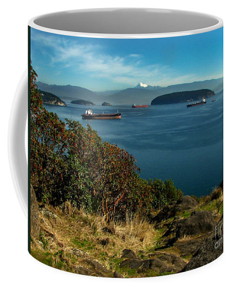 Anacortes Coffee Mug featuring the photograph Oil Tankers Waiting by Robert Bales