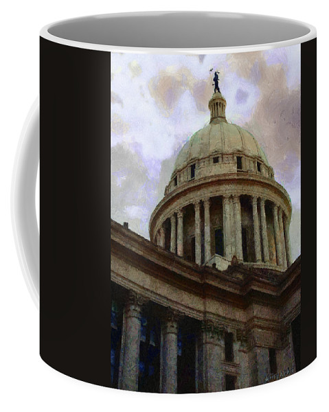 Architecture Coffee Mug featuring the painting Oklahoma Capital by Jeffrey Kolker