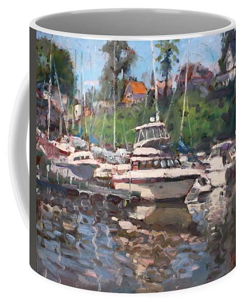 Olcott Beach Coffee Mug featuring the painting Olcott Yacht Club by Ylli Haruni
