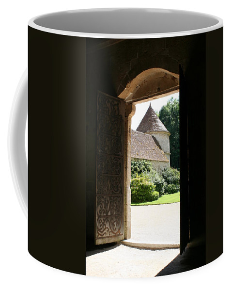 Minster Coffee Mug featuring the photograph Old Abbey Church Door - Abbey Fontenay by Christiane Schulze Art And Photography