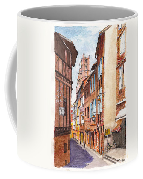 Albi Coffee Mug featuring the painting Old Albi The Pink City Of South West France by Dai Wynn