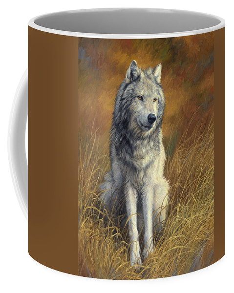 Wolf Coffee Mug featuring the painting Old and Wise by Lucie Bilodeau