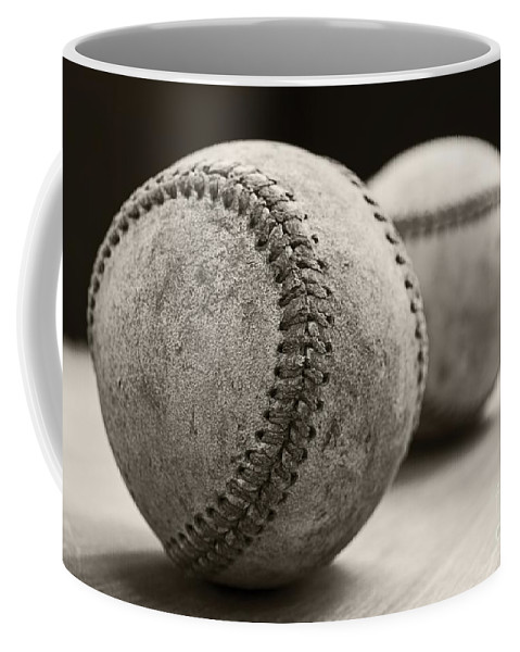Ball; Sport; Baseball; Leather; Stitches; Red; White; Closeup; Used; Old; Vintage; Antique; Old Baseballs Coffee Mug featuring the photograph Old Baseballs by Edward Fielding