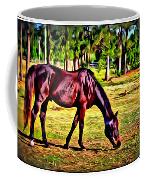 Horse Woods Pasture Coffee Mug featuring the photograph Old Bay Horse by Alice Gipson