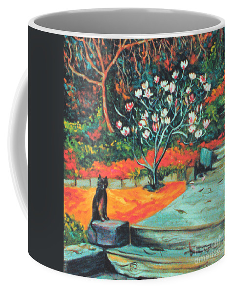 Garden Landscape Painting Coffee Mug featuring the painting Old Bear Cat And Blooming Magnolia Tree by Asha Carolyn Young